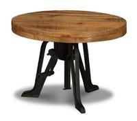 Vintage industrial reclaimed wood top crank coffee table