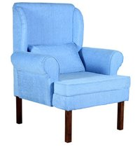 Handcrafted  Single Seater Sofa in Cerulean Colour