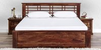 Handcrafted King Bed in Walnut Finish by Wudstuk