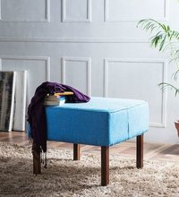 Handcrafted Pouffe in Cerulean Colour by Wudstuk