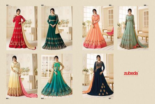 Zubeda Lunching Gown Catalog Posh Collection 601 To 607 Series