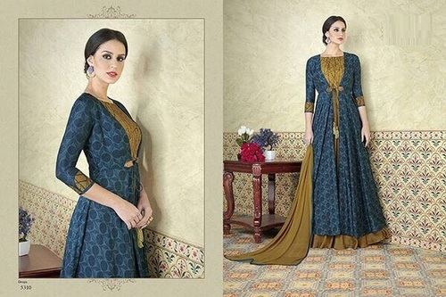 Beautiful Jacket with Print Anarkali Suit