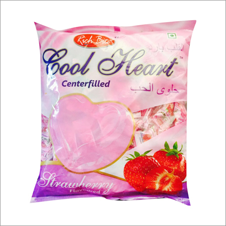 Cool Heart Love Candy Strawberry Center filled