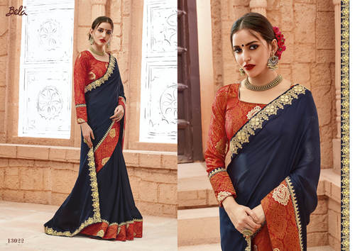 Heavy Embroidery Printed saree