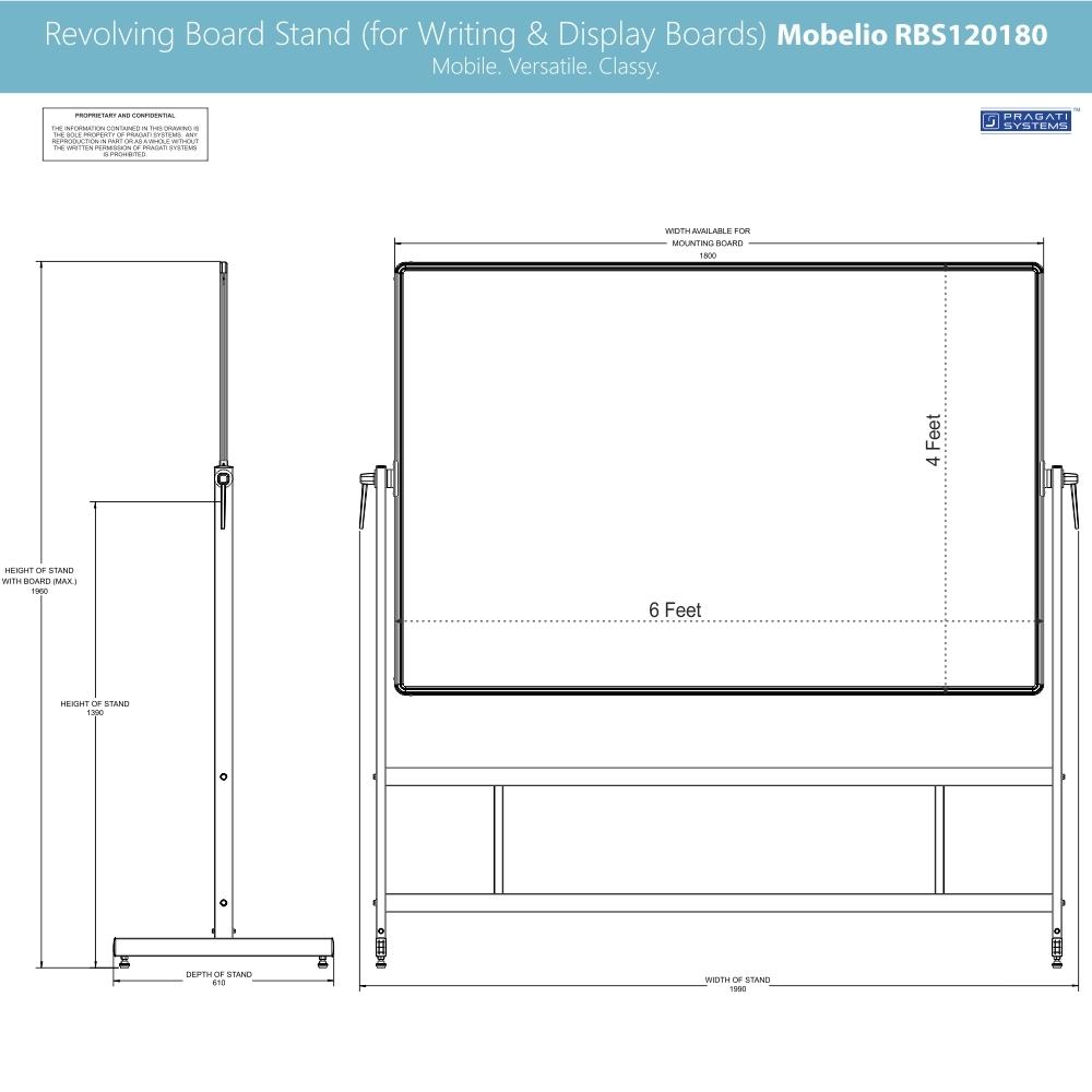 Revolving Whiteboard Stand Mobelio (for 4x6 Feet)