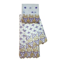 White and Gold Bazin Embroidery Unstitched Suit