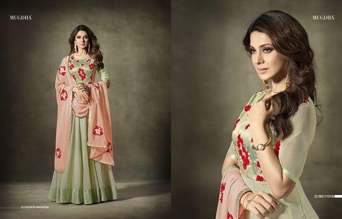 Hand Loom Silk With Georgette Anarkali Salwar Kameez