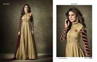 Beige Gold Silk Party Wear Anarkali Salwar Suit