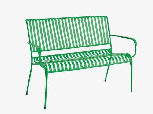 Industrial green metal garden bench