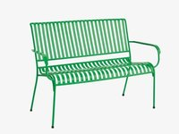 Industrial green metal garden bench