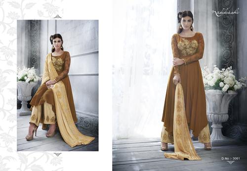 Chocolate Brown Color Silk Salwar Kameez