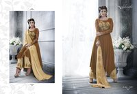 Chocolate Brown Color Silk Salwar Kameez