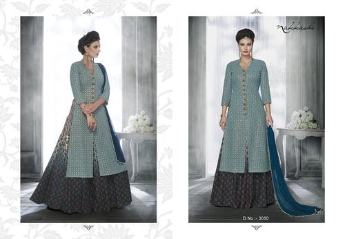 Light Blue Color Jacket Designer Choli