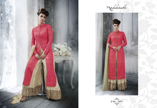 Tussar Silk Multy Embroidery Work Palazzo Salwar Suit