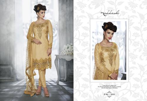 Tussar Silk Zari Embroidery Work Salwar Kameez