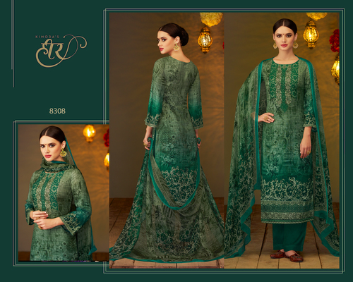 Digital Print And Embroidery Work Suit