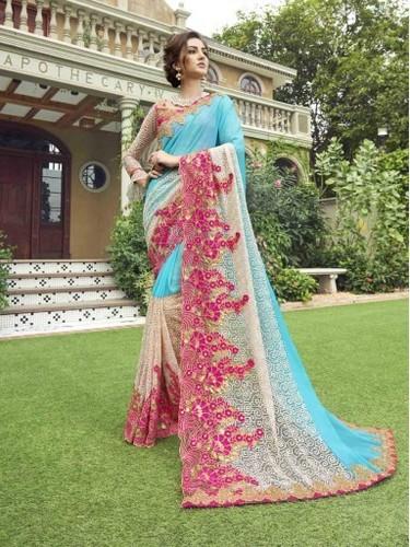 Blue Bridal Designer Saree