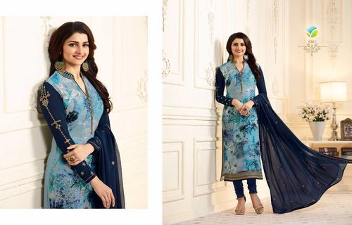 Printed Brasso Churidar Salwar Suit