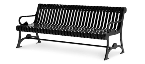 Classic Metal Ribbed Park Benches