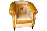 Luxury Vintage look leather and canvas printed club chair