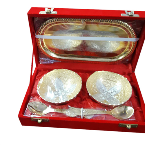 2 Bowl Spoon Tray Set Silver Plated