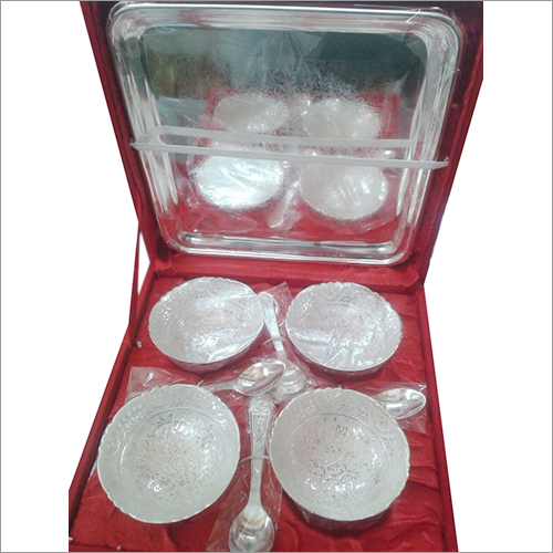 4 Bowl Spoon Tray Set Silver Plated