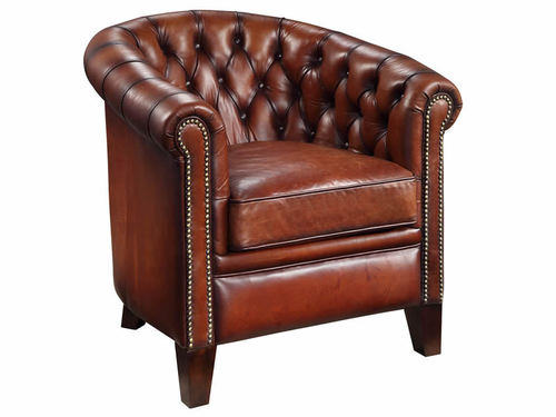 Vintage Leather High Seat Curved Chesterfield Back Comfortable Leather  Single Seat Sofa With Armrest