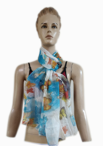 Printed Chiffon with Lurex Scarves