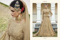 Golden Heavy Designer Party Wear Gown