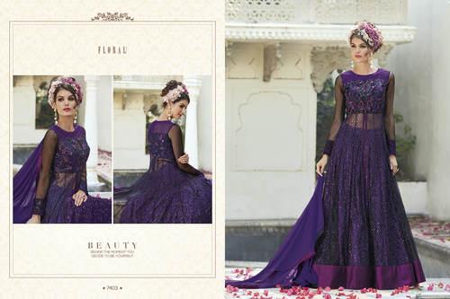 Blue Color Heavy Bridal Designer Gown
