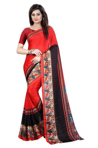 Red Printed Designer Saree