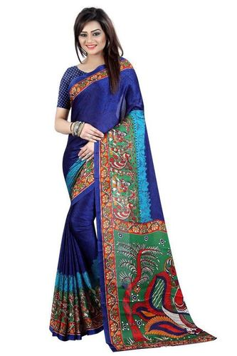 Blue Printed Designer Kalamkari Saree