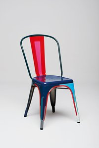 Industrial multicolour metal dining chair