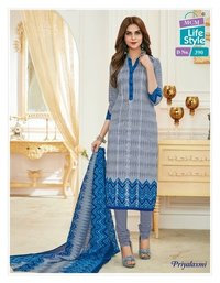 UNSTITCHED PRINTED COTTON FABRIC DRESS MATERIALS