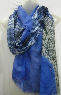 100% Modal Digital  Printed Shawl with self fringes