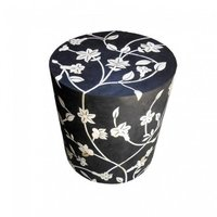 Floral Round shape bone inlay stool