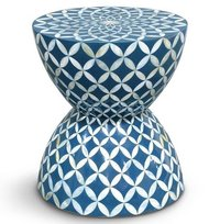 Blue and white resin round bone inlay stool