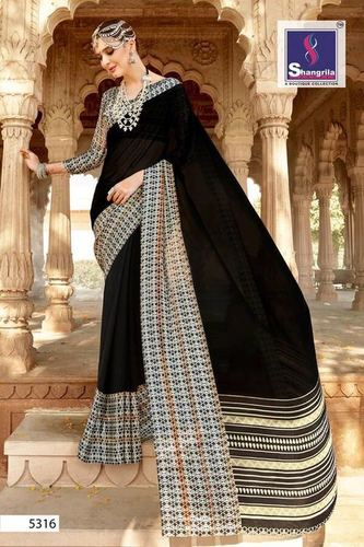 Georgette Printed Saree Satin Border