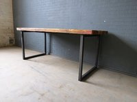 Industrial Solid Wood and Metal Dining Table