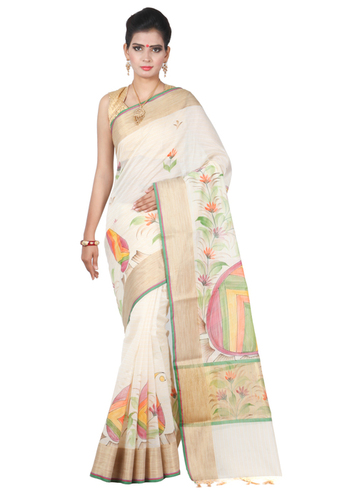 PURE COTTON PRINTED AND WEAWING SAREE