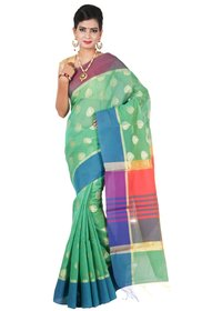 COTTON PATTA WEAWING BOOTI  MULTI BORDER SAREE