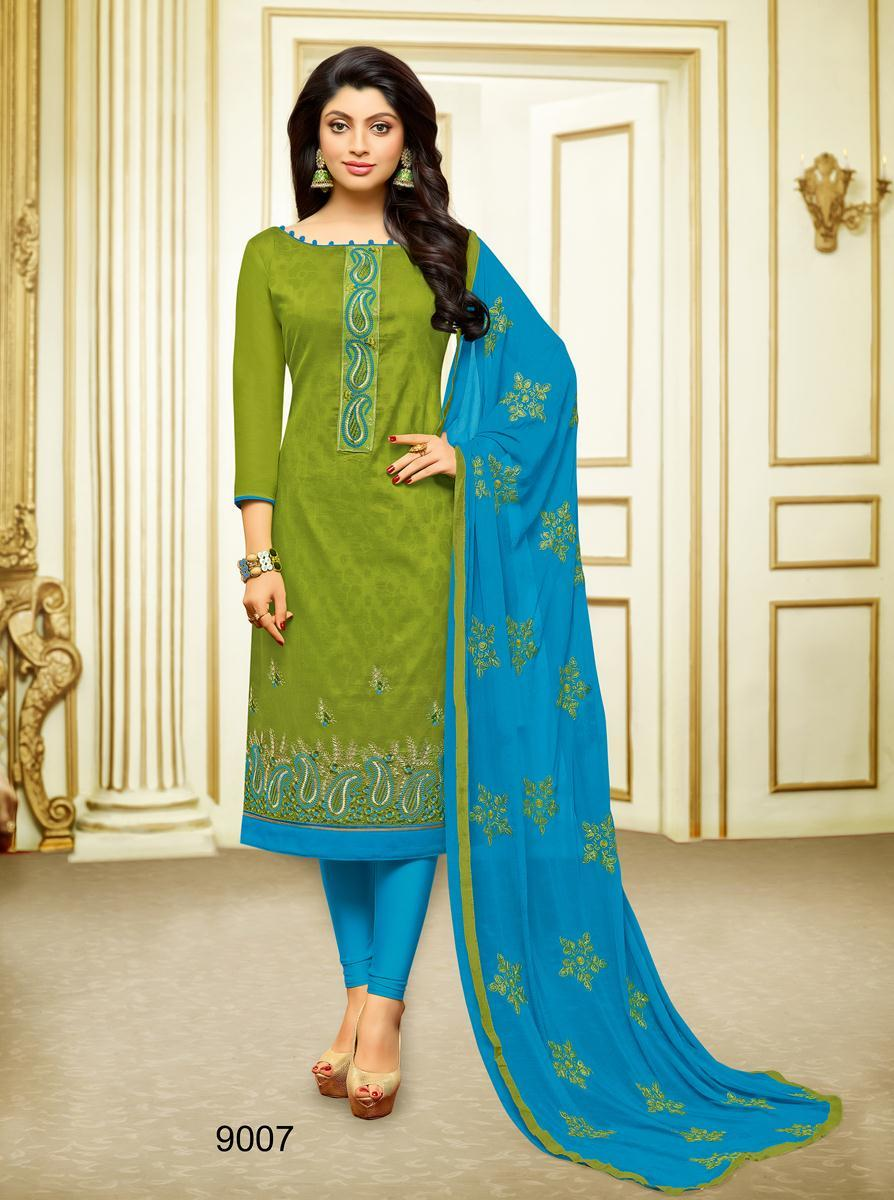 Designer Cotton Suit With Dupatta Embroidery Whole