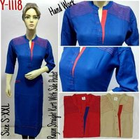 Rayon Straight Kurti With Pocket