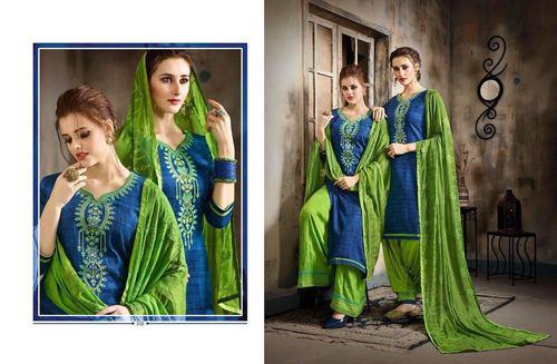 Cotton Satin Patiyala Salwar Suit