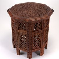 Indian hand carved solid wood side table
