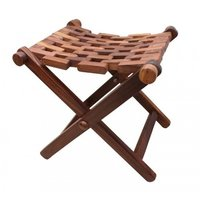 Hand carved solid wood compact size foldable stool