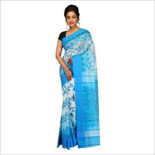 Ladies Womens Dhakai Jamdani Saree In Ikat Weave