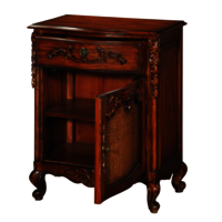 Hand carved solid wood 1 drawer and 1 door bedside cabinet
