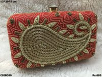 Brocade Embroidered Box Clutch