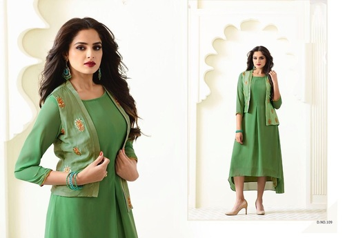 Faux Georgette Ready Made Satin Jacket Kurtis